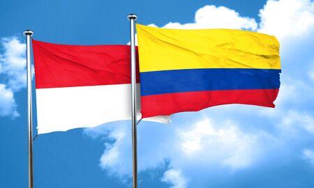 bandera de colombia: Bandera de M�naco con la bandera de Colombia, 3D Foto de archivo