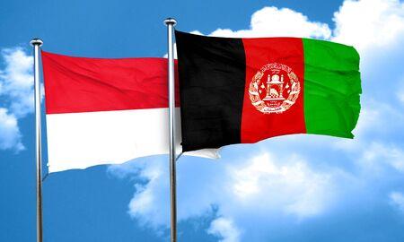 afghanistan flag: monaco flag with afghanistan flag, 3D rendering