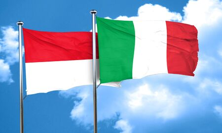 italian politics: monaco flag with Italy flag, 3D rendering