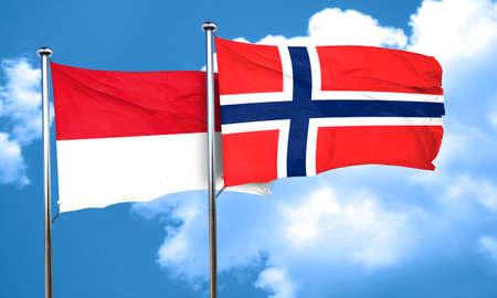 norway flag: monaco flag with Norway flag, 3D rendering