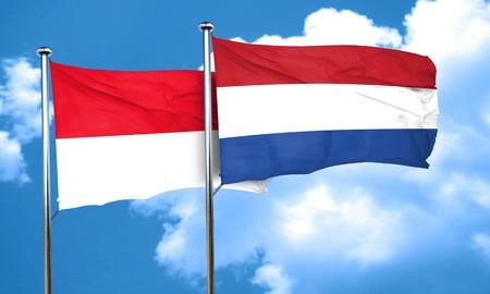 flag of netherlands: monaco flag with Netherlands flag, 3D rendering