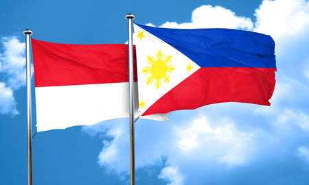 philippino: monaco flag with Philippines flag, 3D rendering
