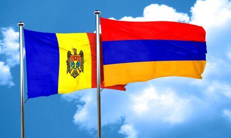 armenia: Moldova flag with Armenia flag, 3D rendering