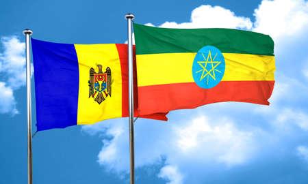 moldova: Moldova flag with Ethiopia flag, 3D rendering Stock Photo