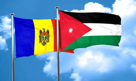 moldova: Moldova flag with Jordan flag, 3D rendering Stock Photo