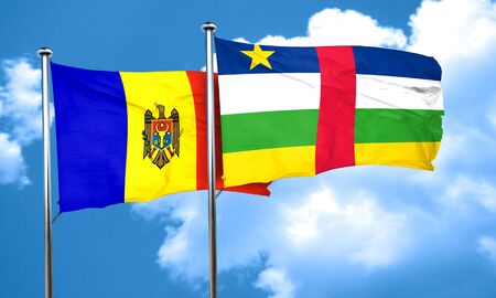 moldovan: Moldova flag with Central African Republic flag, 3D rendering Stock Photo