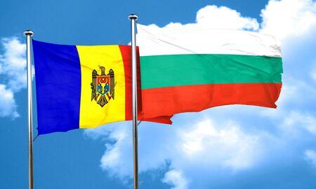 moldova: Moldova flag with Bulgaria flag, 3D rendering