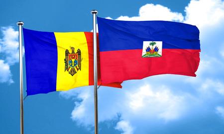 moldova: Moldova flag with Haiti flag, 3D rendering Stock Photo
