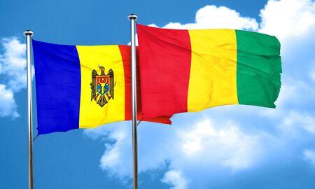 guinea: Moldova flag with Guinea flag, 3D rendering