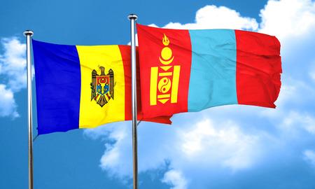 moldovan: Moldova flag with Mongolia flag, 3D rendering
