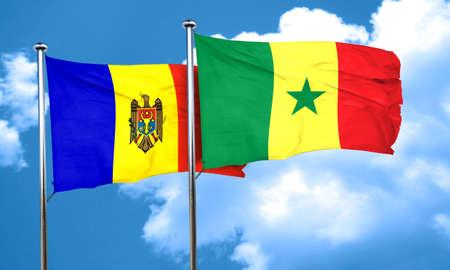 moldova: Moldova flag with Senegal flag, 3D rendering