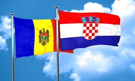 bandera croacia: bandera de Moldavia con la bandera de Croacia, 3D