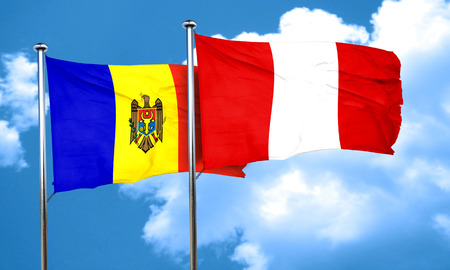 moldova: Moldova flag with Peru flag, 3D rendering