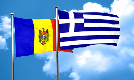 moldovan: Moldova flag with Greece flag, 3D rendering