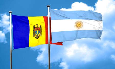 moldova: Moldova flag with Argentine flag, 3D rendering