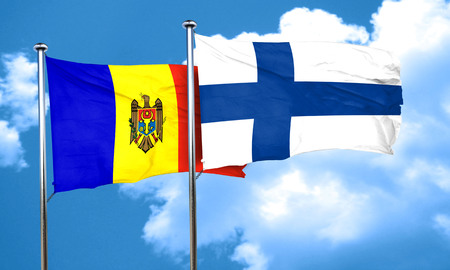 finland flag: Moldova flag with Finland flag, 3D rendering Stock Photo