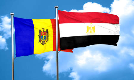 egypt flag: Moldova flag with egypt flag, 3D rendering