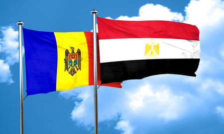 egypt flag: Moldova flag with egypt flag, 3D rendering