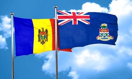 cayman: Moldova flag with Cayman islands flag, 3D rendering Stock Photo