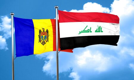 moldovan: Moldova flag with Iraq flag, 3D rendering