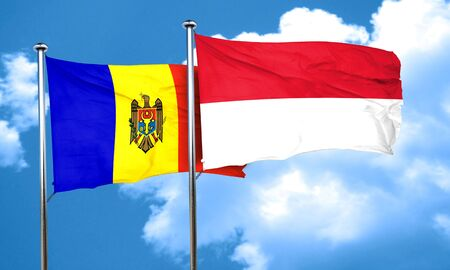 moldovan: Moldova flag with Indonesia flag, 3D rendering