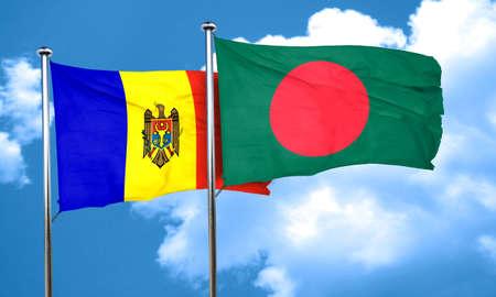bangladesh: Moldova flag with Bangladesh flag, 3D rendering