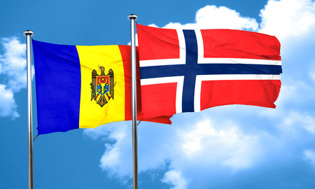 norway flag: Moldova flag with Norway flag, 3D rendering