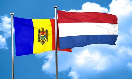 netherlands flag: Moldova flag with Netherlands flag, 3D rendering Stock Photo