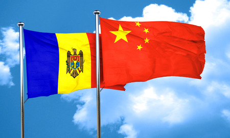moldova: Moldova flag with China flag, 3D rendering