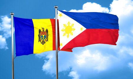 moldova: Moldova flag with Philippines flag, 3D rendering Stock Photo