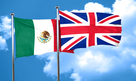great britain flag: mexico flag with Great Britain flag, 3D rendering
