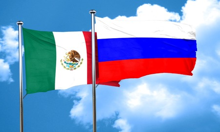 russia flag: mexico flag with Russia flag, 3D rendering