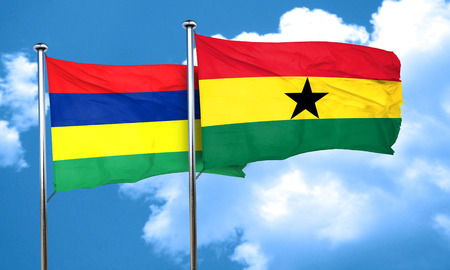ghanese: Mauritius flag with Ghana flag, 3D rendering Stock Photo