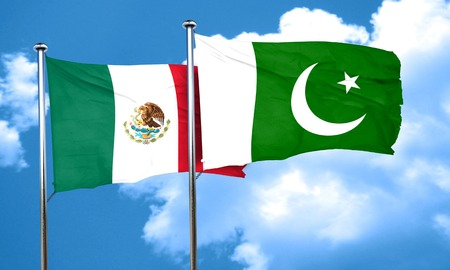 pakistan flag: mexico flag with Pakistan flag, 3D rendering