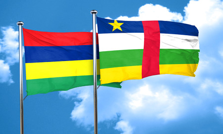 central african republic: Mauritius flag with Central African Republic flag, 3D rendering