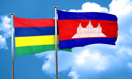 cambodia: Mauritius flag with Cambodia flag, 3D rendering