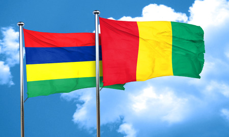 mauritius: Mauritius flag with Guinea flag, 3D rendering Stock Photo