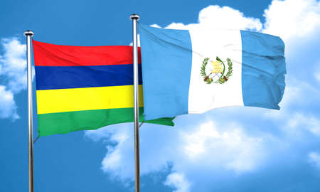 guatemalan: Mauritius flag with Guatemala flag, 3D rendering Stock Photo