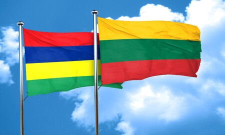 lithuania: Mauritius flag with Lithuania flag, 3D rendering