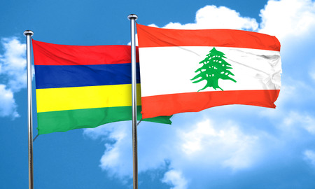 mauritius: Mauritius flag with Lebanon flag, 3D rendering