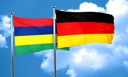 mauritius: Mauritius flag with Germany flag, 3D rendering Stock Photo
