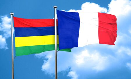 mauritius: Mauritius flag with France flag, 3D rendering Stock Photo
