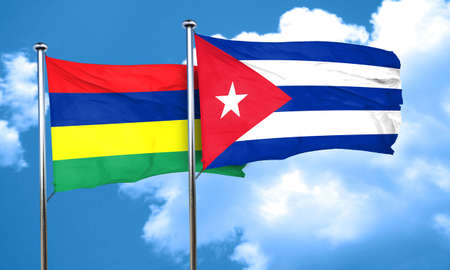 cuba flag: Mauritius flag with cuba flag, 3D rendering Stock Photo