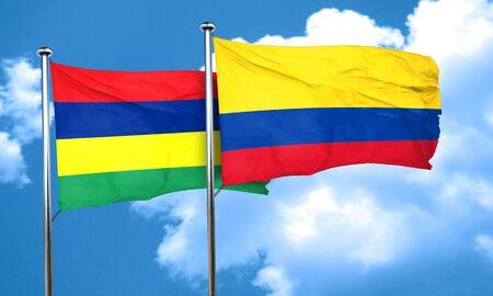 bandera de colombia: bandera de Mauricio con la bandera de Colombia, 3D Foto de archivo