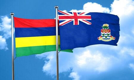 cayman: Mauritius flag with Cayman islands flag, 3D rendering Stock Photo