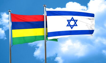 israel flag: Mauritius flag with Israel flag, 3D rendering Stock Photo