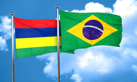 mauritius: Mauritius flag with Brazil flag, 3D rendering