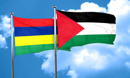 palestine: Mauritius flag with Palestine flag, 3D rendering Stock Photo