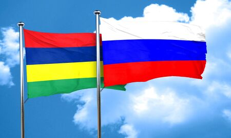 mauritius: Mauritius flag with Russia flag, 3D rendering