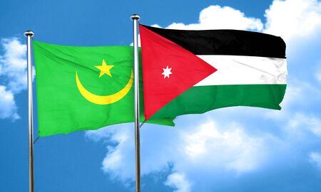 jordan: Mauritania flag with Jordan flag, 3D rendering